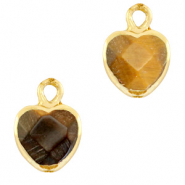 Natural stone charms heart Topaz Brown-Gold