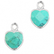 Natural stone charms heart Marble Turquoise-Silver