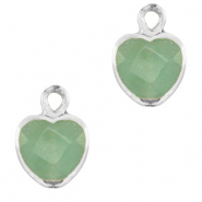 Natural stone charms heart Ocean Green-Silver
