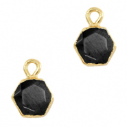 Natural stone charms hexagon Black-Gold