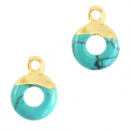 Natural stone charms circle 10mm Marble Turquoise-Gold