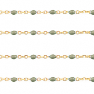 Stainless steel findings belcher chain 1mm Military Green-Gold