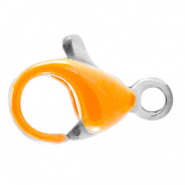 Stainless steel findings lobster clasp 10mm Amberglow Orange-Silver