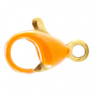 Stainless steel findings lobster clasp 10mm Amberglow Orange-gold