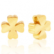 Stainless steel beads clover Gold