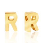 Stainless steel beads letter R Gold