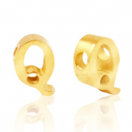 Stainless steel beads letter Q Gold