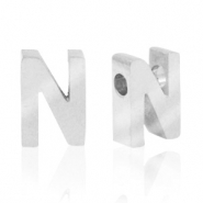 Stainless steel beads letter N Silver