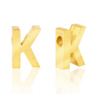 Stainless steel beads letter K Gold
