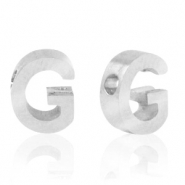 Stainless steel beads letter G Silver