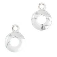 Natural stone charms circle 10mm Marble White-Silver
