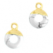 Natural stone charms circle 10mm Marble White-Gold