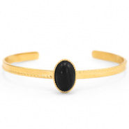 Stainless steel bracelets with Black Onyx Gold-Black