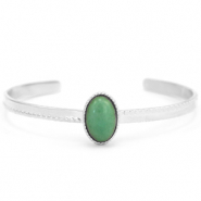 Stainless steel bracelets with Green Aventurine Silver-Green