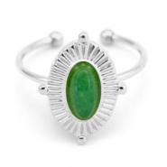 Stainless steel rings with Green Aventurine Silver-Green