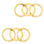 Stainless steel charms/connector triple circle Gold
