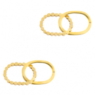 Stainless steel charms/connector double oval Gold