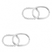 Stainless steel charms/connector double oval Silver