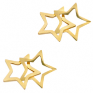 Stainless steel charms/connector double star Gold