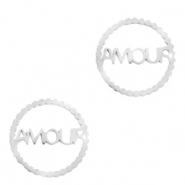 "Stainless steel charms/connector ""AMOUR"" Silver"