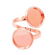 Rings metal for 2 cabochons 12mm Rose Gold