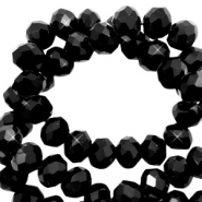 Top faceted beads 8x6mm disc Jet Black-Pearl Shine Coating