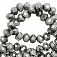 Top faceted beads 6x4mm disc Silver Grey Metallic