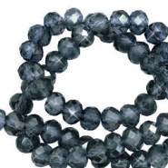 Top faceted beads 3x2mm disc Ensign Blue-Pearl Shine Coating