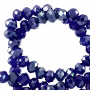 Top faceted beads 4x3mm disc Egyptian Blue-Pearl Shine Coating