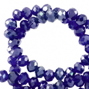 Top faceted beads 3x2mm disc Egyptian Blue-Pearl Shine Coating