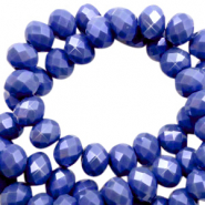 Top faceted beads 4x3mm disc Cobalt Blue-Pearl Shine Coating