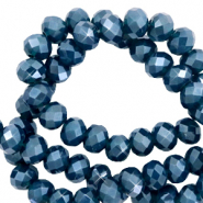 Top faceted beads 6x4mm disc Aegean Blue-Pearl Shine Coating