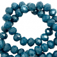 Top faceted beads 4x3mm disc Aegean Blue-Pearl Shine Coating