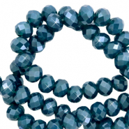 Top faceted beads 3x2mm disc Aegean Blue-Pearl Shine Coating