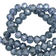 Top faceted beads 3x2mm disc Steel Blue-Pearl Shine Coating