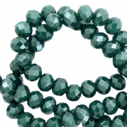 Top faceted beads 8x6mm disc Peacock Green-Pearl Shine Coating
