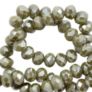 Top faceted beads 3x2mm disc Dried Herb Green-Pearl Shine Coating
