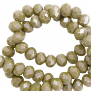 Top faceted beads 6x4mm disc Incense Green-Pearl Shine Coating
