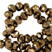 Top faceted beads 4x3mm disc Tan Brown Copper Metallic