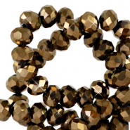Top faceted beads 3x2mm disc Tan Brown Copper Metallic