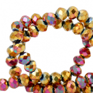 Top faceted beads 6x4mm disc Gold Magenta Diamond Metallic