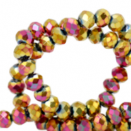 Top faceted beads 4x3mm disc Gold Magenta Diamond Metallic