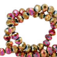 Top faceted beads 3x2mm disc Gold Magenta Diamond Metallic