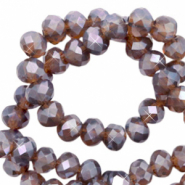 Top faceted beads 6x4mm disc Light Amethyst Purple-Pearl Shine Coating