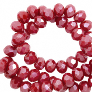 Top faceted beads 6x4mm disc Garnet Red-Pearl Shine Coating