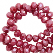 Top faceted beads 4x3mm disc Garnet Red-Pearl Shine Coating