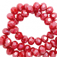 Top faceted beads 6x4mm disc Red Samba-Pearl Shine Coating