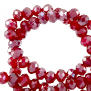 Top faceted beads 6x4mm disc Light Siam Red-Pearl Shine Coating