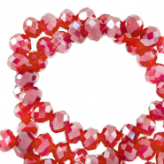 Top faceted beads 3x2mm disc Light Siam Red-Pearl Shine Coating
