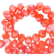 Top faceted beads 4x3mm disc Fireopal Orange-Pearl Shine Coating
